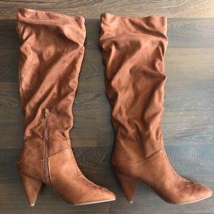 Express | Camel Knee High Boots